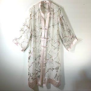 WinterSilks Silk Cherry Blossom Kimono Robe